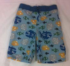 Gymboree Boys Size 5T Swim Trunks Bathing Suit Light Blue Fish