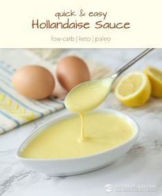 Easy Hollandaise Sauce - Keto Vegetarian - Ideas of Keto Vegetarian - Quick & Easy Hollandaise Sauce (low-carb keto paleo) Keto Foods, Ketogenic Recipes, Paleo Recipes, Low Carb Recipes, Cooking Recipes, Dinner Recipes, Egg Recipes For Breakfast, Paleo Meals, Paleo Food