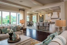 Cozy Up and Come on Over - Open Floor Plans We Love - Southernliving. Morning, noon, or night, this cozy and open space is a perfect gathering spot for the family. Built by Dillard Jones Builders of Greenville, South Carolina.