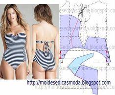 TRANSFORMAÇÃO MOLDE DE FATO DE BANHO Desenhe o molde base, frente e costas. Desenhe o decote na frente. Desenhe o decote nas costas/cintura. Desenhe a altura para o gancho do fato de banho nas frentes