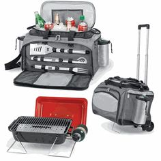 $189.95 Vulcan - Insulated Tailgate Cooler Tote w/ 3 PC. BBQ Tools & Propane Grill - Picnic Time