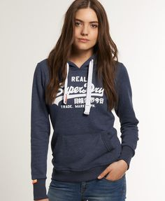 Superdry women's Vintage Logo hoodie. The classic hoodie from Superdry featuring a cracked version of the iconic Real Superdry logo design. This hoodie also features a drawstring hood, front pouch pocket and a Vintage Superdry sleeve logo tab #Superdry