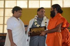 #20yearsofpatanjaliyogpeeth People celebrating Foundation Day of #Patanjali yogpeeth  with #wrestler   #shushil kumar, #yoga guru swami Ramdev,#aacharya Balkrishna ji and    others.  Swami #Ramdev ji  compete in #wrestling