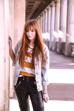 Denim jacket street style, leather pants outfit, Berlin fashion blogger