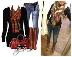 PTMT recreation: black tee, blanket scarf, jeans, and cognac boots! LOVED this combo!