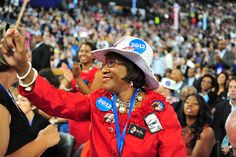 Delegate excited on the convention floor
