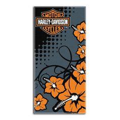 Harley-Davidson Towel - Beach - Flowers Design