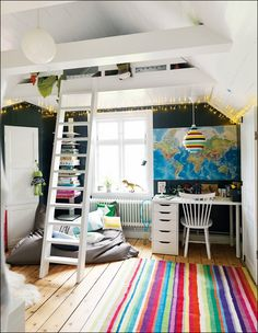 Okay, I want this to be my office. I would decorate it MUCH differently, but I could see myself using the loft as a lesson planning spot. Sometimes I need to spread out when I plan!