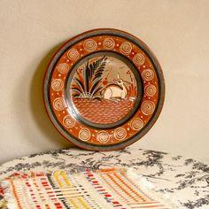 Tonala Pottery Plate Mexican Folk Art Fawn by Splinkville on Etsy, $25.00