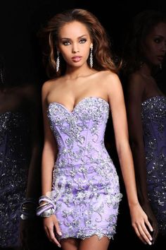 Strapless Convertible Mermaid Beaded Lilac Prom Dress with Tulle Removable Skirt
