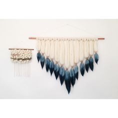 dip dyed wall hanging and roving woven tapestry