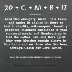 Prayer from the home blessing ritual on Epiphany