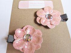 """Pink Pixie"" Sparkle Flower Hair Clip Set for Little Ones"