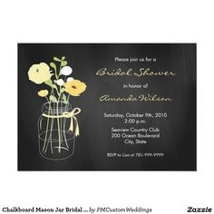 Chalkboard Mason Jar Bridal Shower Invitations. Elegant Chalkboard Bridal Shower Invitation Templates. Classy bridal shower invitations that you can order online. Customized for the new bride to be. Elegant bridal shower invitation that feature a nice chalkboard background, great design and typography. Click image to customize. Feel free to like or repin.