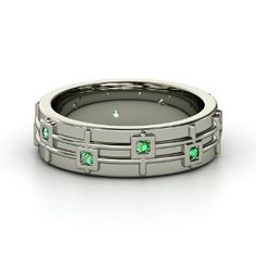 Guitar Band, Men's 14K White Gold Ring with Emerald from Gemvara
