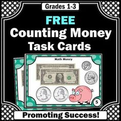 Money: Here are six common core math money task cards to help your students count dollars and coins. A student response form, mini-writing assignment and answer key are also provided. Math money task cards are a great alternative to printable worksheets. Money Activities, Social Skills Activities, Math Games, Special Education Math, Art Education, Teaching Money, Teaching Ideas, Math Task Cards, 3rd Grade Math