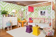 Tilton Fenwick for the Housing Works' Design on a Dime event.Clarence House Congo fabric, daybed with canopy