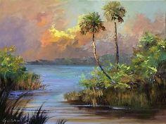 Florida Lagoon by Karim Gebahi Landscape Paintings, Landscapes, Beach Paintings, Watercolor Florida, Tropical Landscaping, Art Academy, Tropical Art, Bedroom Art, Lovers Art