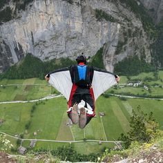 BASE Jump Wingsuit Flying (you must complete 200 skydives and a series of months of BASE jumping before you can train for this)