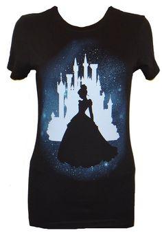Disney Cinderella Star Silhouette Juniors T-shirt (Small,Black)