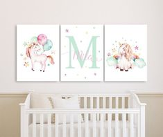 Unicorn Nursery Name Decor, Unicorn Baby Girl Nursery Canvases, Personalized Nursery Canvas, Mint Pink Monogram Nursery Canvas Set of 3 Nursery Name Decor, Nursery Monogram, Nursery Canvas, Nursery Prints, Girl Nursery, Baby Canvas, Disney Princess Room, Baby Room Pictures, Name Paintings