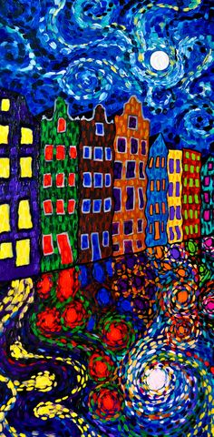 After Starry Night, Amsterdam Netherlands Print (Psychedelic Trippy Vincent Van Gogh Europe Travel Colorful High Impasto Painting)