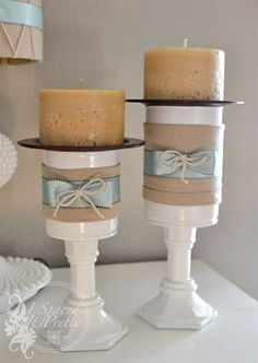 DIY candle holders made with cans