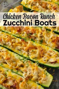This Low Carb Zucchini Boats is amazing! Zucchini boats filled with an amazing c… This Low Carb Zucchini Boats is amazing! Zucchini boats filled with an amazing chicken bacon ranch filling and then baked in the oven. Low Carb Recipes, Diet Recipes, Cooking Recipes, Healthy Recipes, Recipes Dinner, Recipies, Delicious Recipes, Jello Recipes, Crab Recipes