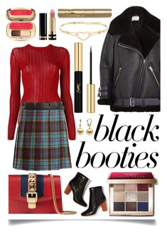 """""""Back to Basics: Black Booties"""" by ittie-kittie ❤ liked on Polyvore featuring DKNY, Bobbi Brown Cosmetics, Junya Watanabe, Gucci, Acne Studios, Yves Saint Laurent, Diesel and Dolce&Gabbana"""