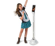 The Sing Along iPad Microphone is an adjustable mic stand packed with speakers and built-in dock to make it your kids own personal sound stage right at Unique Gifts For Kids, Sound Stage, Ipad Accessories, Hammacher Schlemmer, Gifted Kids, Cool Toys, Funny Gifts, Singing, Gifts