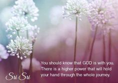 12. You should know that GOD is with you. There is a higher power that will hold your hand through the whole journey. - Sri Sri Ravi Shankar