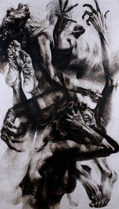 """""""Emerge"""" is a series of figure drawings that depict the long treatment process that began upon receiving a diagnosis. At the height of my depression, I was so deeply buried by the emotions that I … Life Drawing, Figure Drawing, Drawing Sketches, Arte Horror, Horror Art, Dark Art Drawings, Ange Demon, Charcoal Art, A Level Art"""