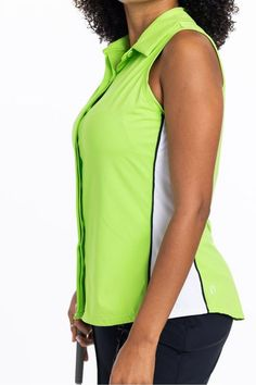 Polished and pretty, our Slimming sleeveless golf shirt, is designed with princess seam lines to create a flattering shape. #golfstyle #golfapparel #femalegolfers #activewear #activewomen #womeninsports