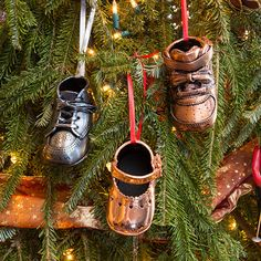 Bronzed Baby Shoes make great Christmas Tree Ornaments. Great gift idea for those sentimental parents!
