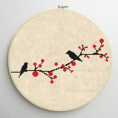 Counted Cross Stitch Pattern PDF Silhouette Birds by SimpleSmart