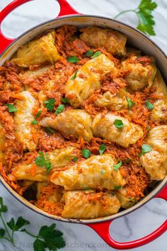 Our family loves these stuffed cabbage rolls. This step-by-step recipe makes it so easy! Absolutely delicious recipe for these cabbage rolls (golubtsi)