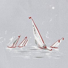 Sailing Boats - Blue - Children's Collection - Fabric - Emily Bond England