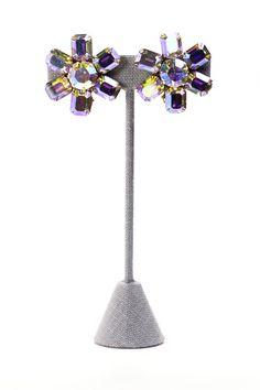 60's__Weiss__Rhinestone Burst Clip-on Earrings