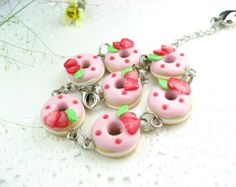 Strawberry Donut Bracelet - Food Jewelry, food bracelet, donut jewelry, food gifts, unique gifts, womens gift for her, fruit doughnut pink