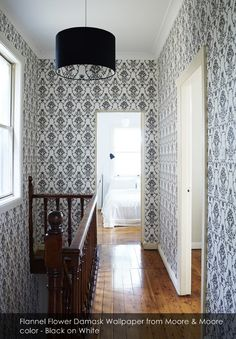 Flannel Flower Damask wallpaper from Moore