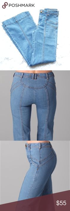 """Free People  Flare Wide Leg Jeans Free People 27 Pieced Festy Flare Wide Leg Bali Jeans Bellbottom.Super flattering and gorgeous. These wide leg jeans have slant hip pockets and seam details front and back. Gently preloved. Size 30. 73% cotton 25% polyester 2% spandex.  Very stretchy.     33"""" inseam Bell Bottom opens 12"""" Waist to Ancke is 43"""" Free People Jeans Flare & Wide Leg"""