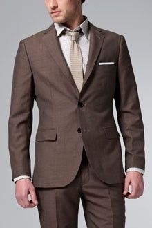 Modern Brown Linen and Wool Suit