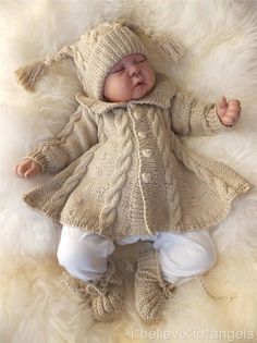 Discover thousands of images about Auctiva Image Hosting Girls Knitted Dress, Knitted Baby Clothes, Crochet Clothes, Baby Cardigan Knitting Pattern, Baby Knitting Patterns, Knitted Coat, Knitted Dolls, Baby Girl Dresses, Baby Dress