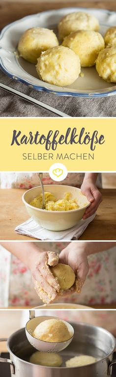 Wieso zur Fertigvariante greifen, wenn man Kartoffelklöße auch einfach selber … Why resort to the finished version, if you can make potato dumplings yourself? With these tips you can make fresh dumplings easy. Crock Pot Recipes, Egg Recipes, Potato Recipes, Paleo Recipes, Dessert Recipes, Bolo Fresco, A Food, Food And Drink, Albondigas