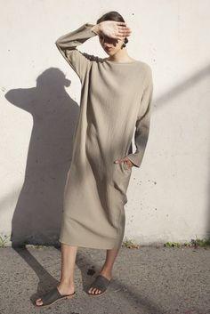Black Crane Quilted Long Dress in Sand oroborostore.com