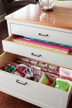 Get Inspired by This Home's Clever Built-In Storage Ideas - built in storage drawers with gift wrapping supplies - Craft Storage Drawers, Gift Bag Storage, Craft Room Storage, Built In Storage, Diy Storage, Storage Ideas, Modular Storage, Office Storage, Craft Rooms