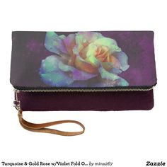 Turquoise & Gold Rose w/Violet Fold Over Clutch