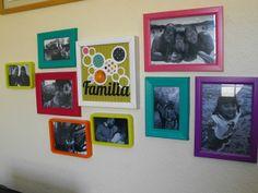 Photo frame arrangement I made as part of the DT of Fiebre de Scrapbook por la Noche :) Photo Arrangement, Bright Colors, Kids Room, Collage, Frames, Photograph, Home Decor, Interior, House