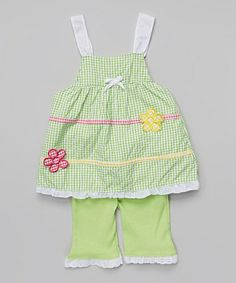 Another great find on #zulily! Lime Tiered Flower Tank & Leggings - Infant & Toddler #zulilyfinds