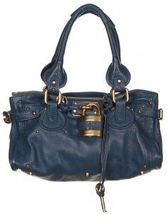 Chloé Leather Handbag Royal Blue - Vintage clothing from Rokit - handbag, leather handbag